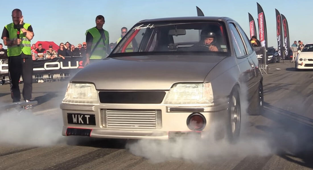 An old Opel Kadett has recently been filmed accelerating like mad on a drag strip in Germany