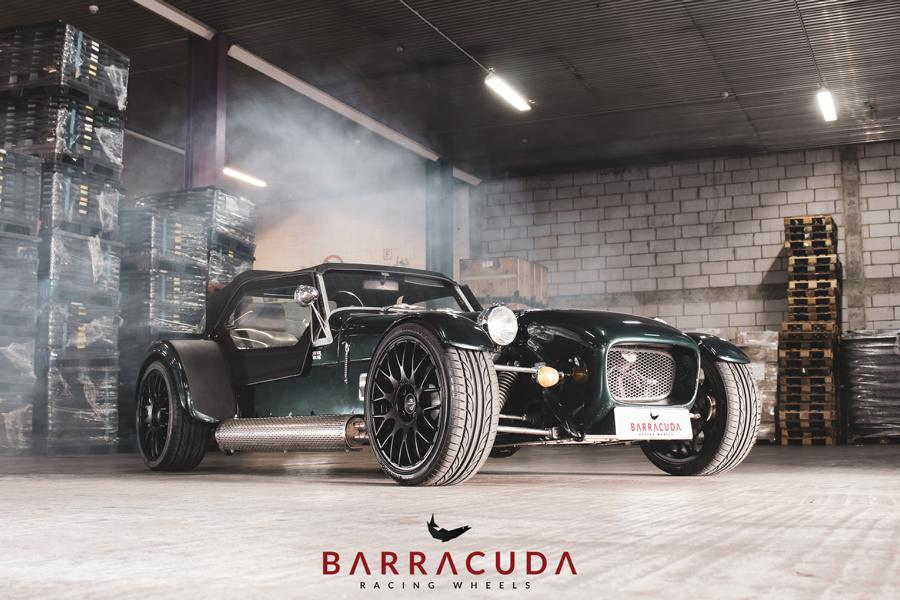 The car received a set of matte-black, 17-inch Barracuda Karizzma racing wheels only 7.5 inches wide