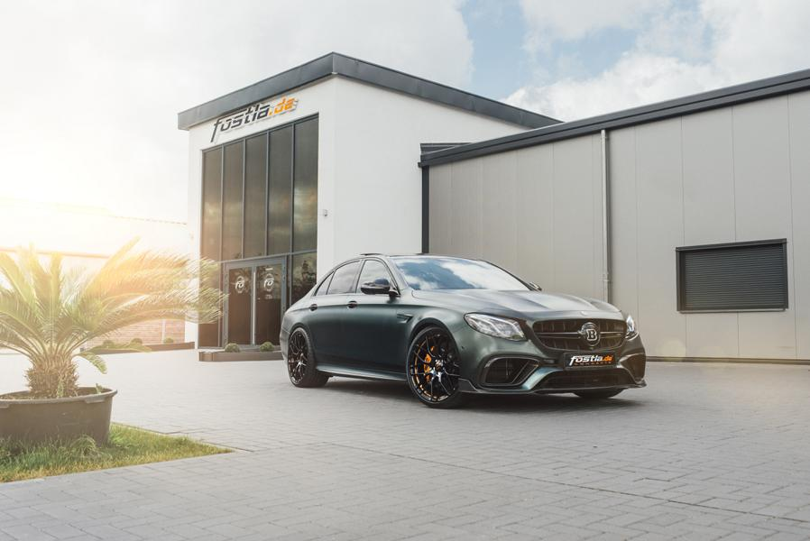 The Mercedes E63s AMG 4MATIC+ by Brabus pictured here sports a Chrysolite Green Fostla film covering its entire body