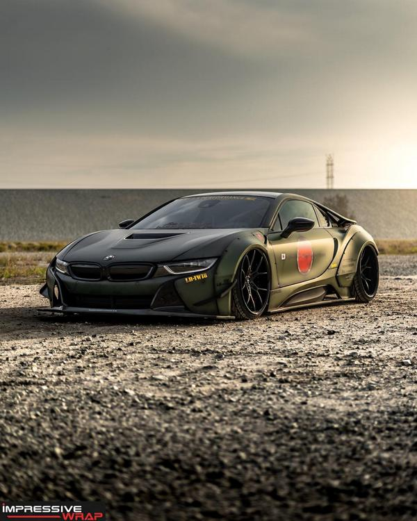 At the recently concluded SEMA show, Japanese car tuner Liberty Walk introduced a traditionally bulky body kit for the BMW i8