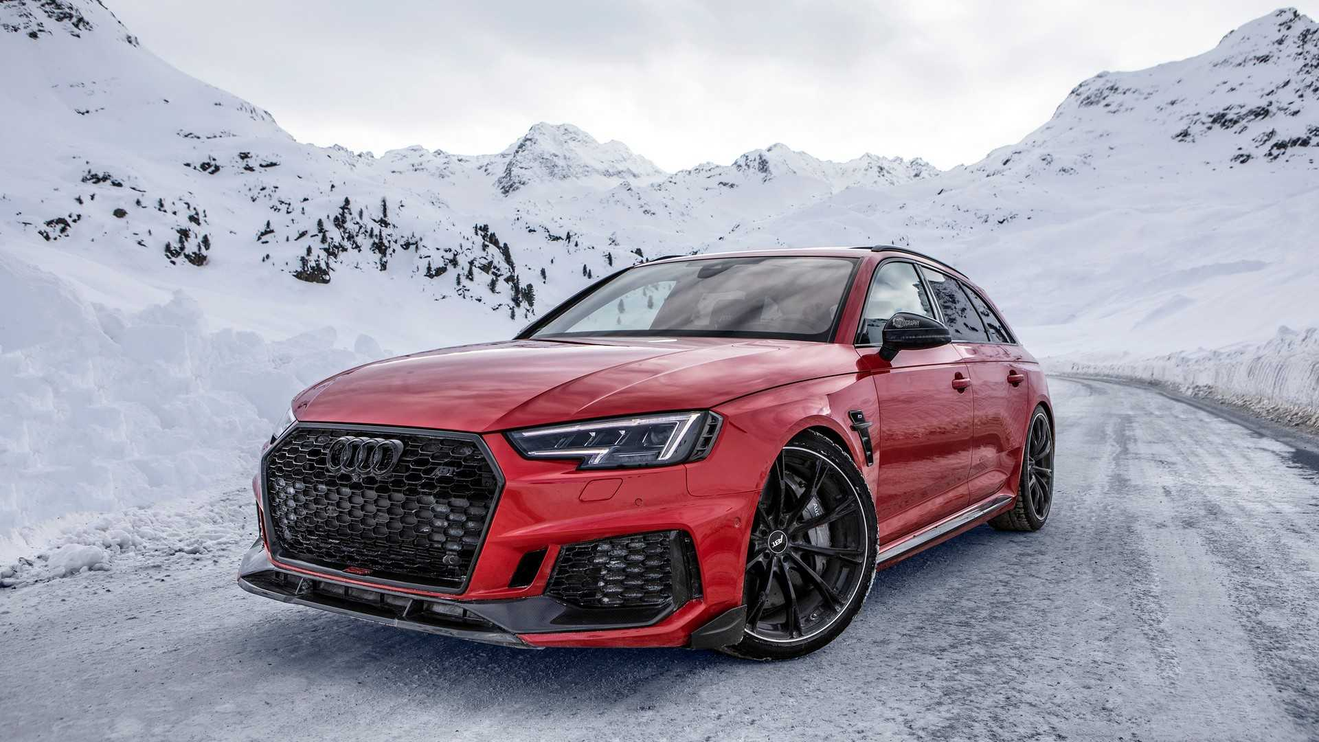 Мастерская ABT Sportsline опубликовала фото и видео с тюнингованным Audi RS4+ Avant на «прогулке» в заснеженных Альпах