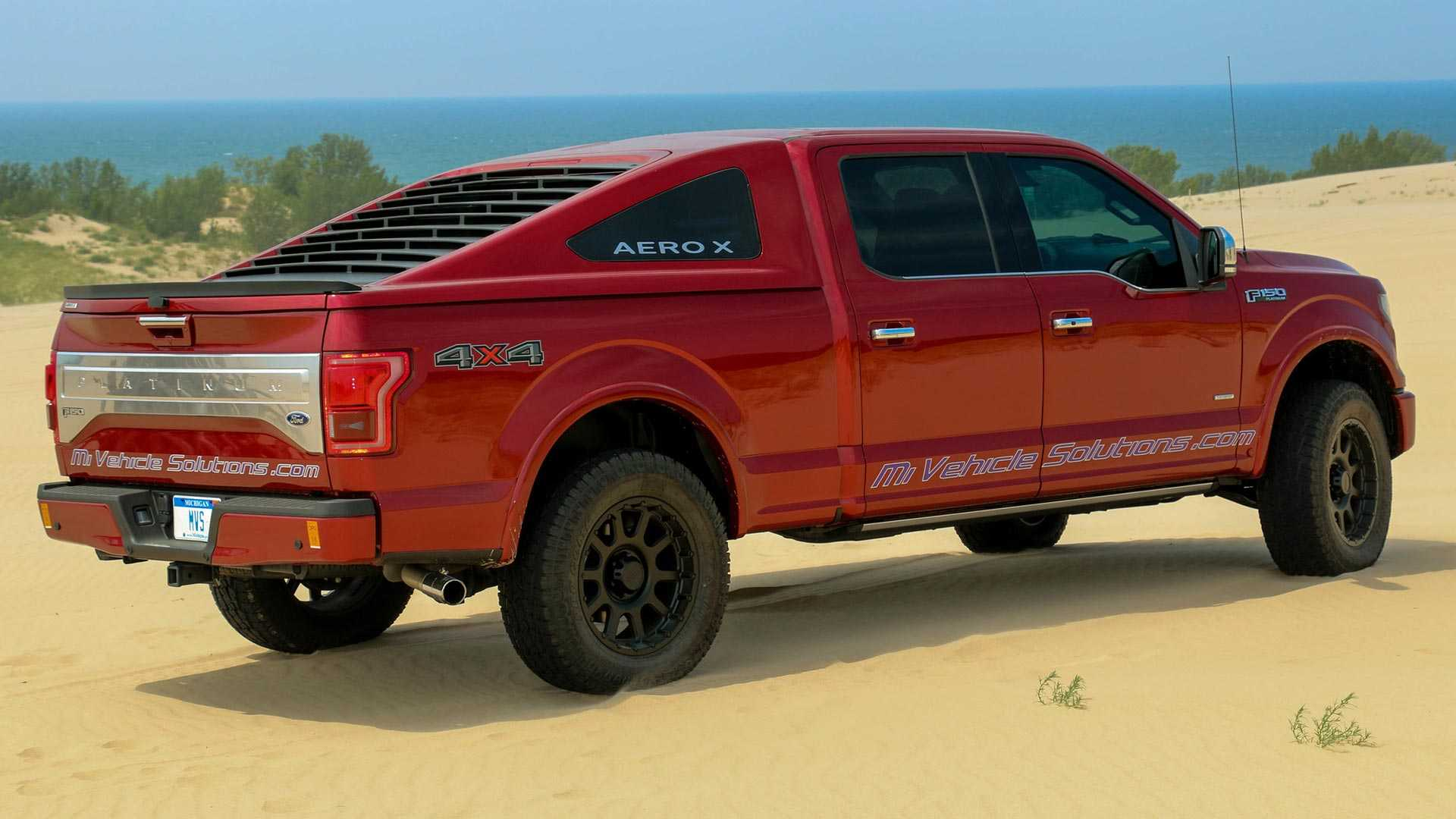 The Michigan Vehicle Solutions takes things quite a bit further with their fastback-style bed cap called the Aero X