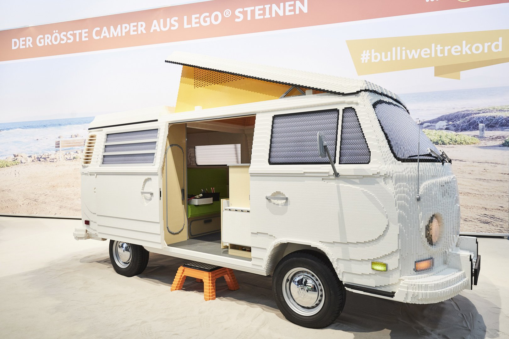 A life-size replica of the Volkswagen T2 van made up of LEGO bricks has made an appearance at the ongoing 2019 Travel and Leisure Fair in Munich, Germany