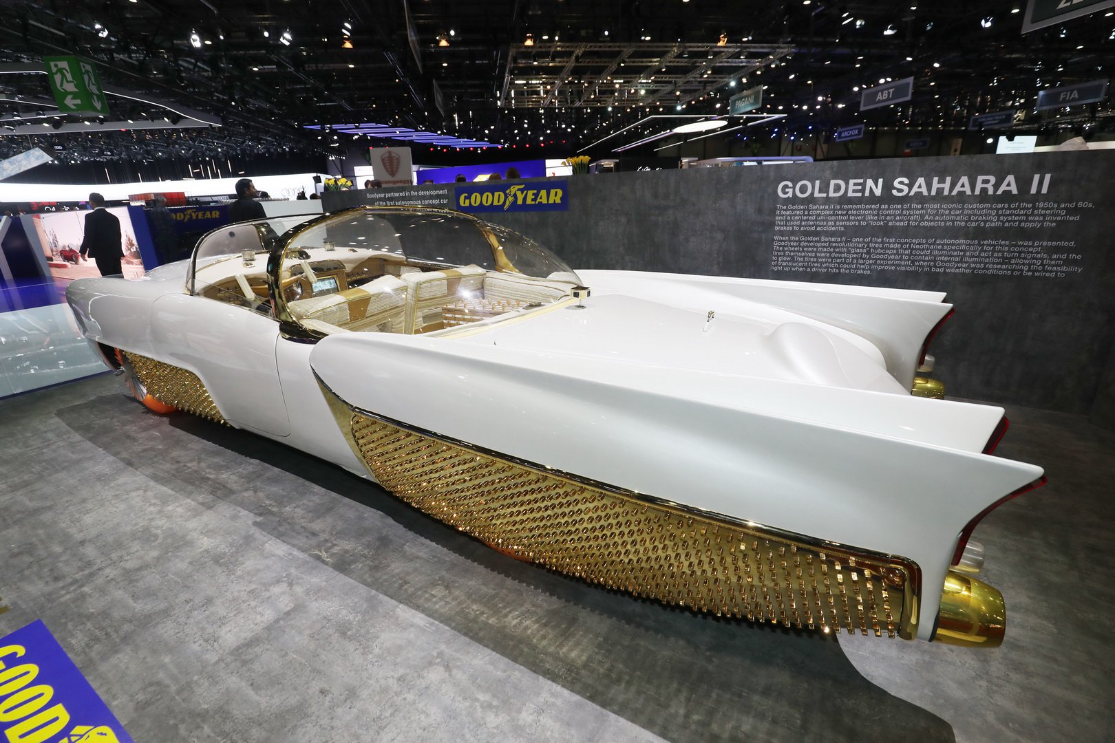 Goodyear and Klairmont Kollections have come to this year's Geneva show with quite an ace up their sleeve: a unique retro car called the Golden Sahara II