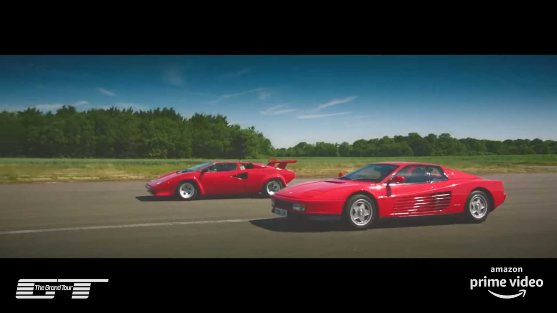 James May and Richard Hammond, hosts of The Grand Tour show, have set up an epic showdown between two iconic supercars of the twentieth century, the Lamborghini Countach and the Ferrari Testarossa