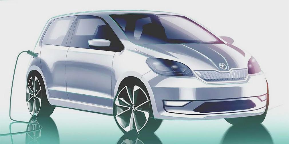 Компания «Шкода» поделилась тизером своего первого электрического автомобиля на базе Citigo