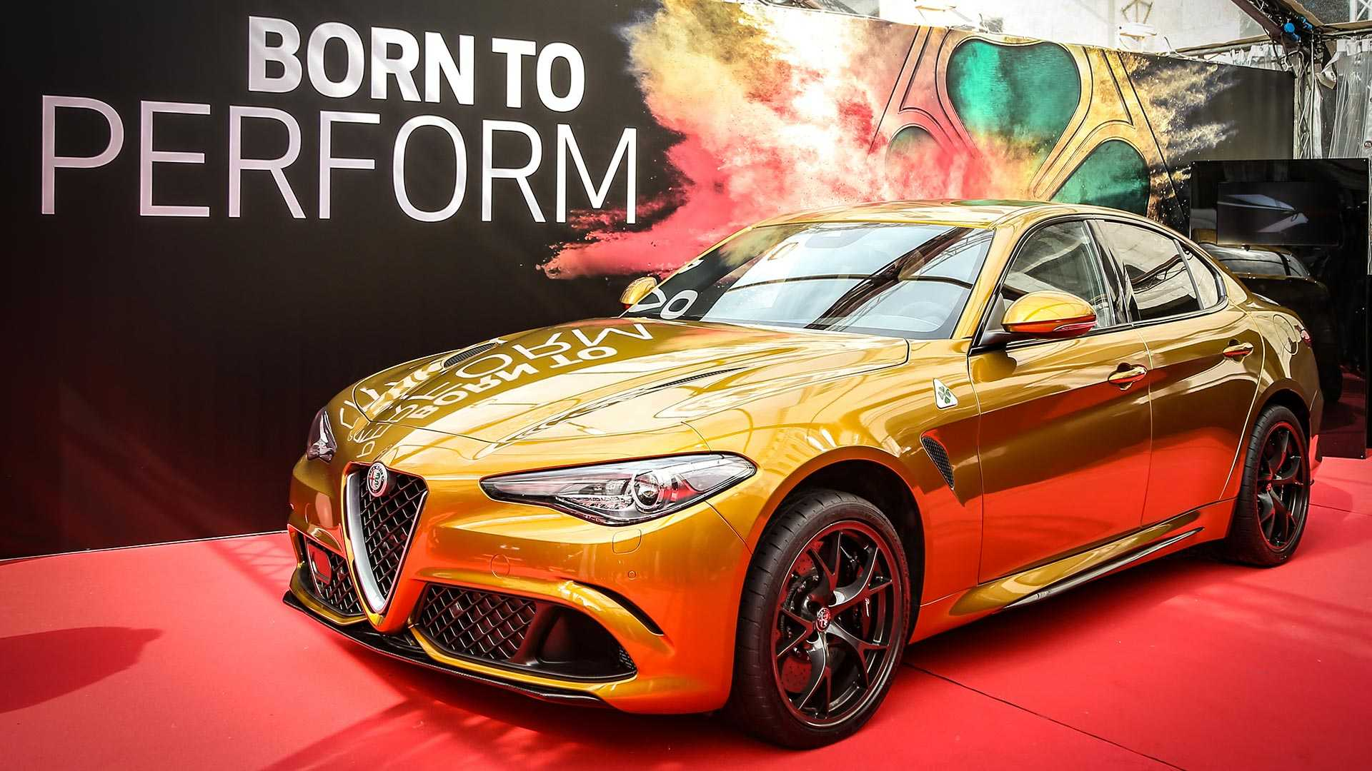 Alfa Romeo has taken the wraps off a very special Giulia Quadrifoglio supercar flaunting a shimmering golden livery