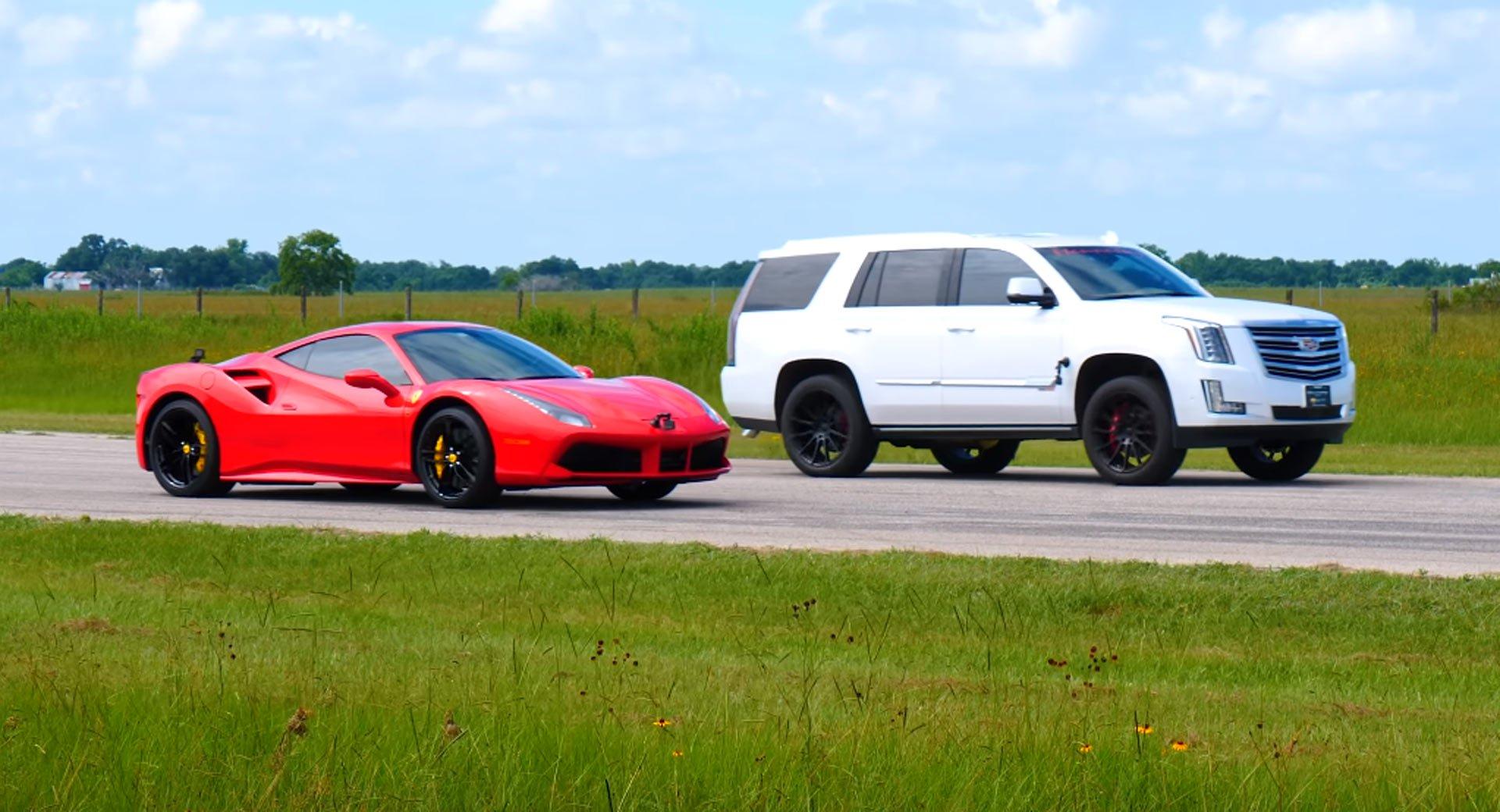 Чтобы показать, на что способен прокачанный паркетник, Hennessey Performance устроил два дрэг-заезда с участием суперкара Ferrari 488
