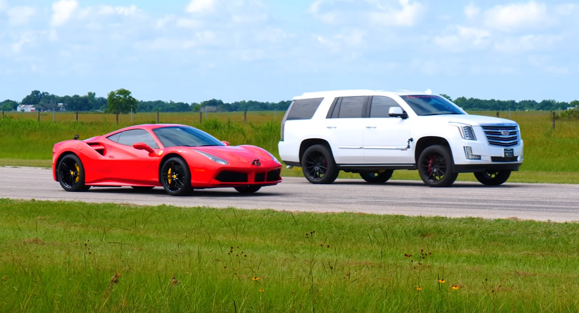 To show what the modified SUV was truly capable of, Hennessey Performance arranged for two drag races between it and a Ferrari 488