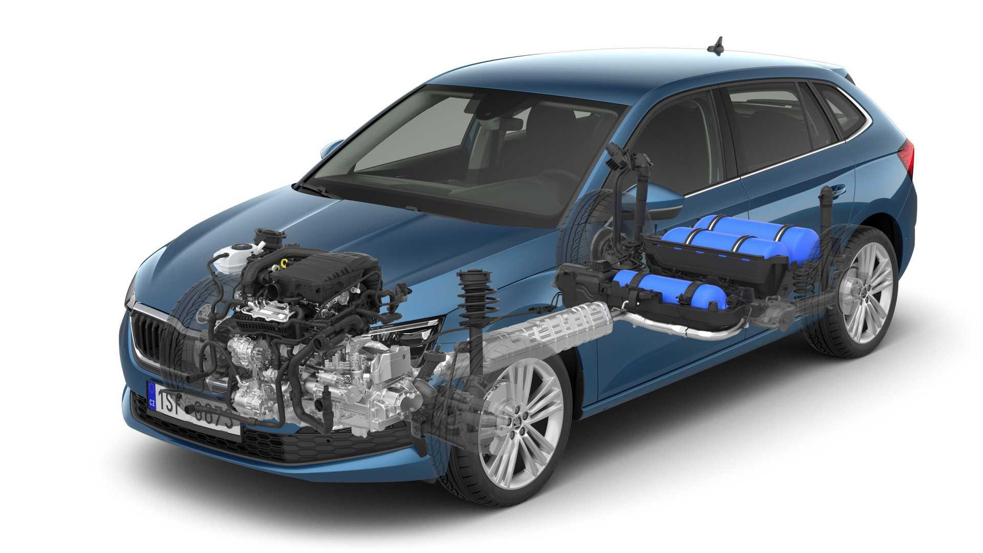 Автомобилестроитель «Шкода» разработал новую версию хэтчбека Scala с двигателем, который работает на бензине и природном газе
