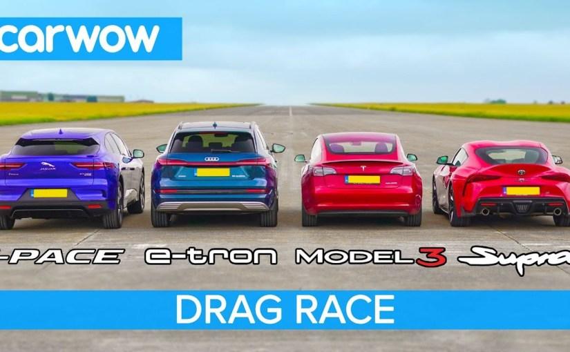 На Youtube-канале carwow появилось видео с заездами новой «Супры» с популярными электрокарами Jaguar I-Pace, Audi e-tron и Tesla Model 3 Performance. Победителя искали в трех дисциплинах: эффективность тормозов, старт с хода с 80 км/ч и заезд с места на ¼ мили.