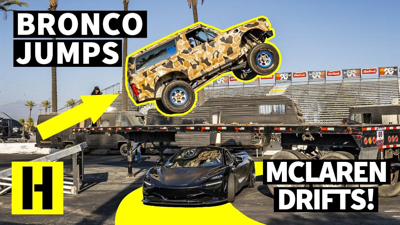 Команда Hoonigan исполнила безумный трюк: Ford Bronco заставили прыгать через дрифтующий McLaren.