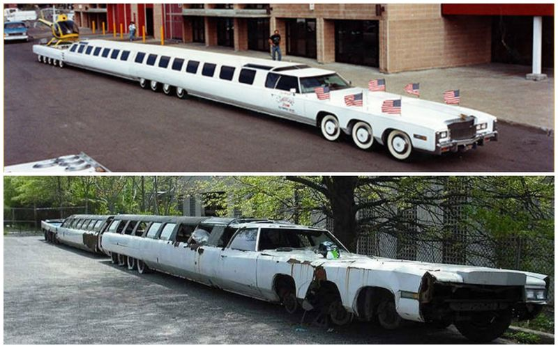 This 100-foot (30m) stretch limo is known as 'The American Dream'. The car has starred in numerous Hollywood movies, but has been abandoned for years since.