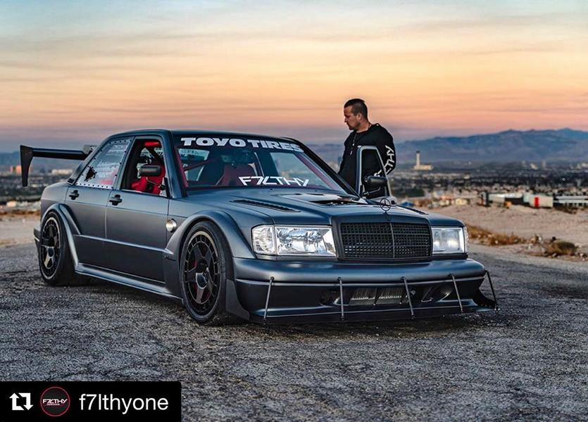 Here's an exciting project titled 'Evil Evo' by U.S. tuner F7lthy. The styling makes the car look like the legendary 2.5-16V Evo II, but the much more affordable W201 sedan/saloon lies underneath the disguise.