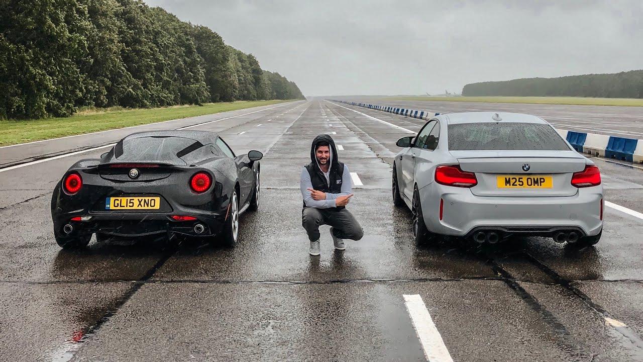 Что важнее – мощный двигатель или небольшая масса автомобиля? Британские видеоблогеры провели заезд: BMW M2 Competition соревновался с Alfa Romeo 4C.