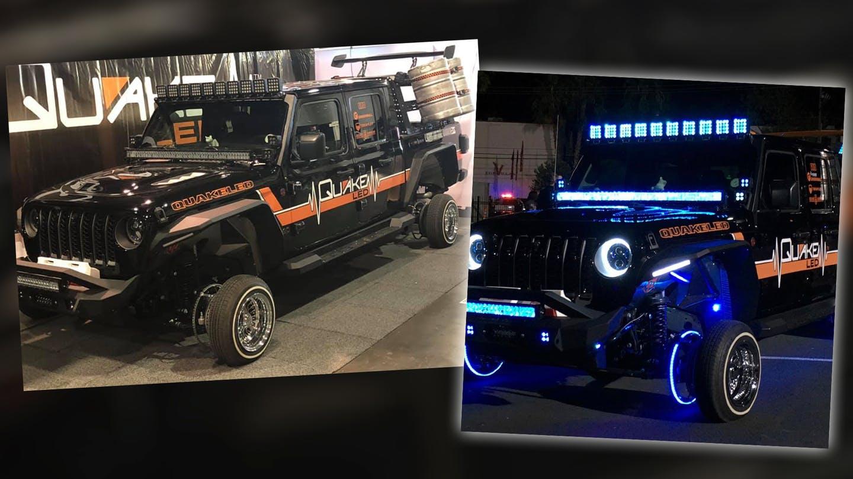 Перед вами подвергнутый беспощадному тюнингу Jeep Gladiator Rubicon. Пикап оборудовали огромным спойлером, всякого рода светодиодами и крохотными 13-дюймовыми дисками.