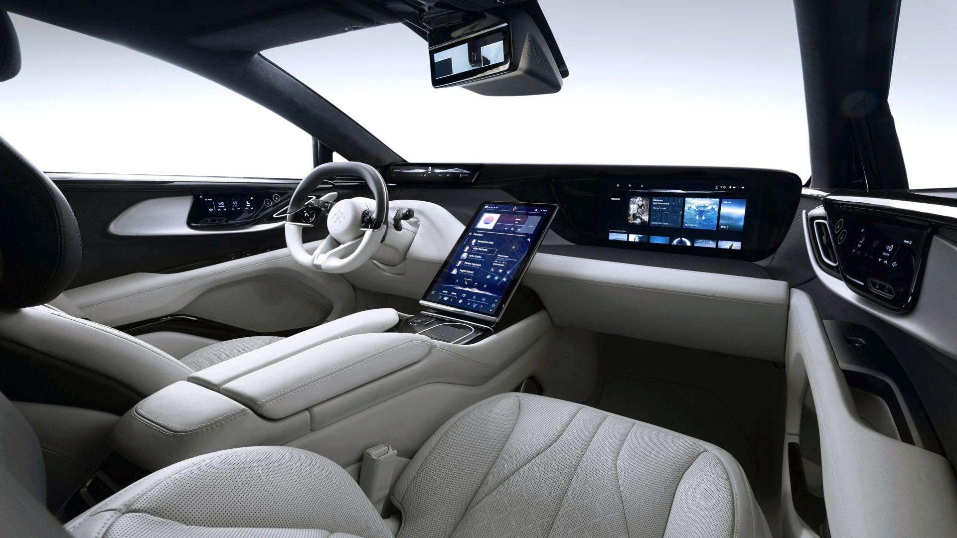 U.S.-Chinese joint startup Faraday Future has shared the interior shots of its first production-ready vehicle, the all-electric crossover SUV named FF 91. There is much to look at, so hop in.