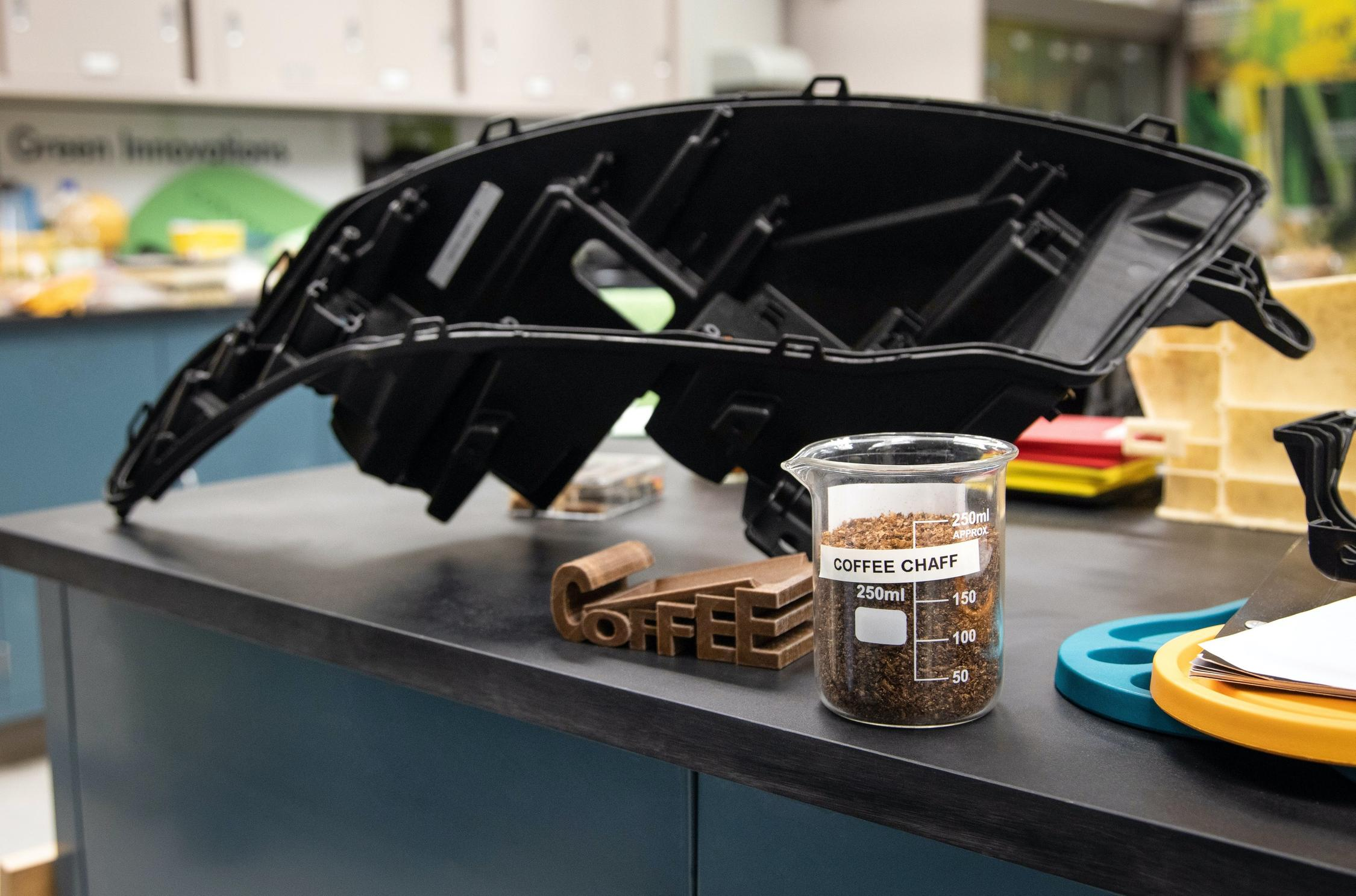 The U.S. automotive giant has struck a partnership deal with McDonald's to recycle coffee bean husks into plastic substances suitable for different in-car components – and even certain parts under the hood.