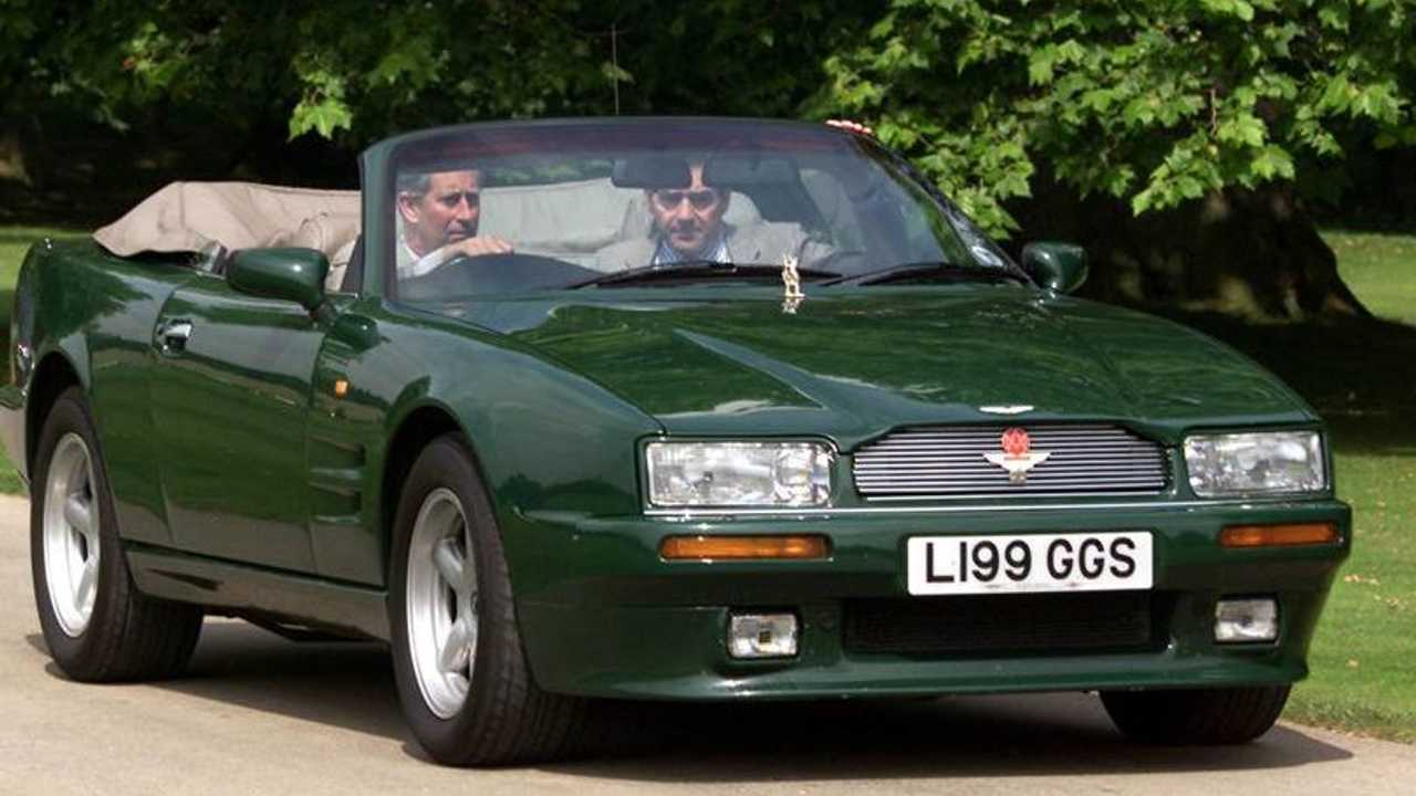 Depicted here is a unique 1994 Aston Martin Virage Volante convertible that Charles, Prince of Wales, has used for 15 years.