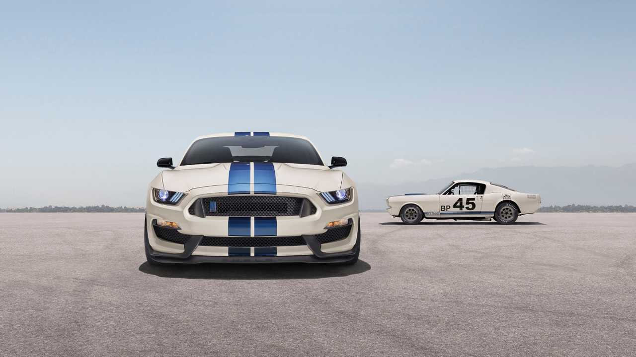 Ford will soon be launching the Mustang Shelby GT350/GT350R Heritage Edition, complete with Carroll Shelby's iconic blue-stripes-on-white livery, black seats with red stitching inside, and commemorative plaques to highlight the cars' special status.