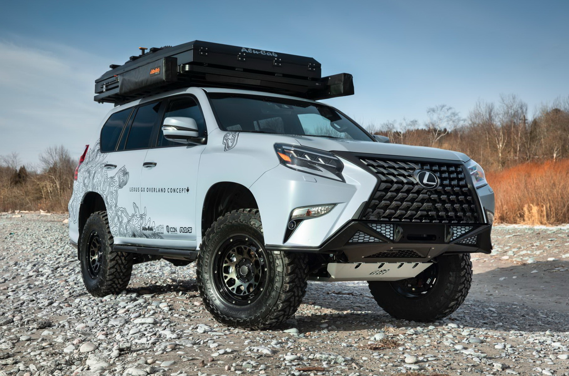 The GX Overland Concept clearly appeals to off-road drivers and comes armed with such necessities as reinforced bumpers, a suspension lift, skid plates, meaty tires, and a roof tent.