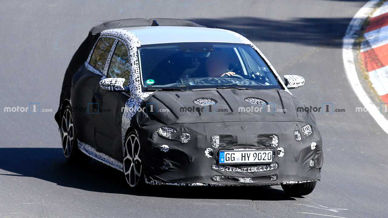 The South Korean automotive giant has begun testing the sported-up version of its i20 compact hatchback at the Nürburgring Circuit in Germany. The disguise is good, but certain exterior features can still be made out.