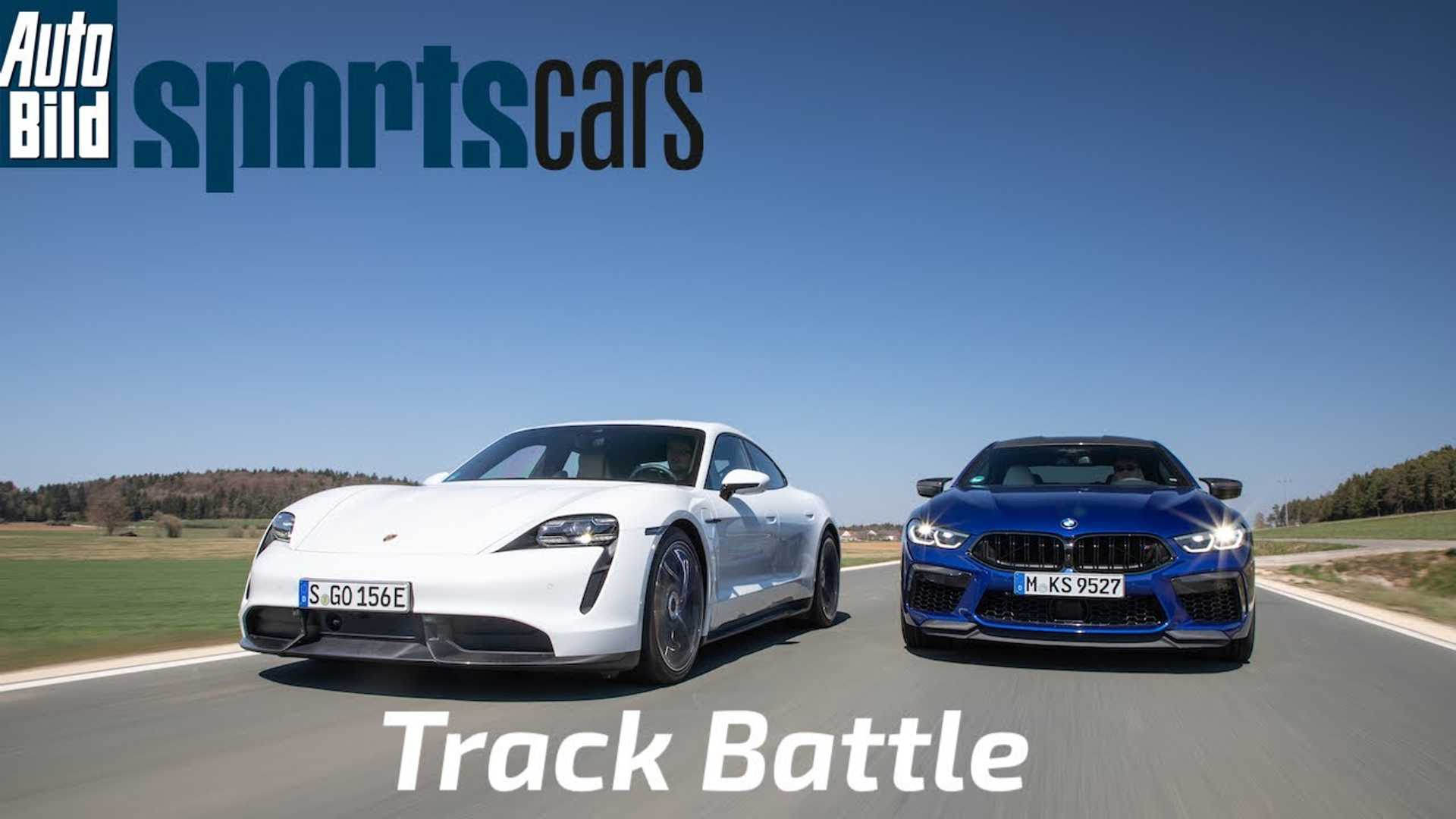 In its latest YouTube video, AutoBildSportsCars pits the electric Porsche Taycan Turbo S up against the gasoline-powered BMW M8 Gran Coupe Competition on EuroSpeedway Lausitz.
