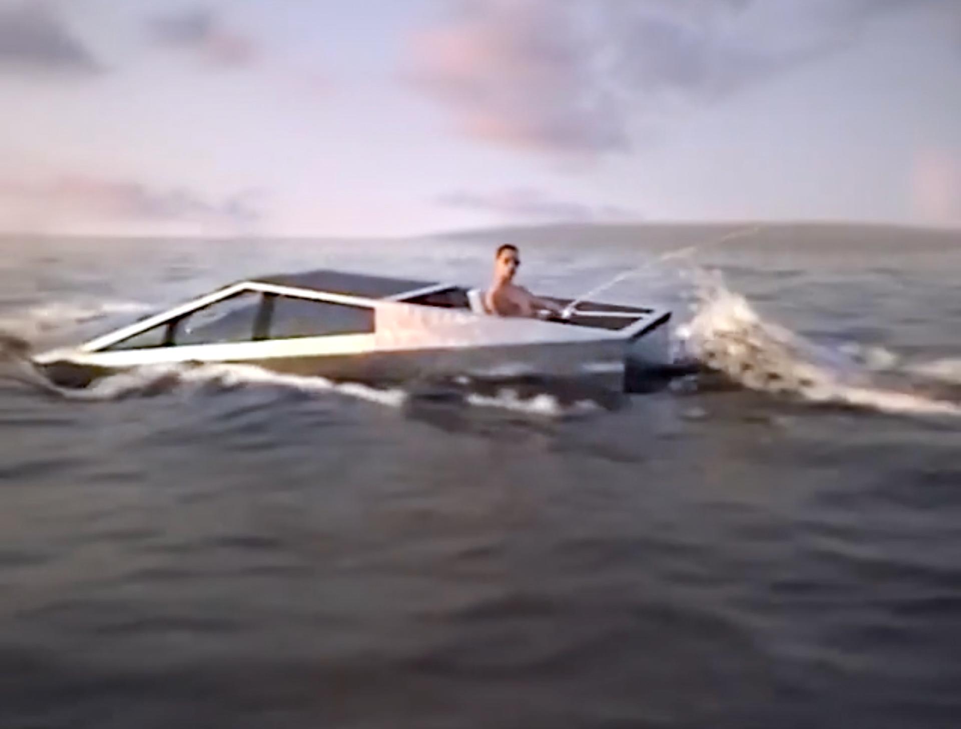 В интернете опубликован анимационный ролик, где пикап Tesla Cybertruck плывёт по реке, а в кузове сидит рыбак с удочкой. Илон Маск прокомментировал видео словами «Думаю, мы в состоянии сделать это».