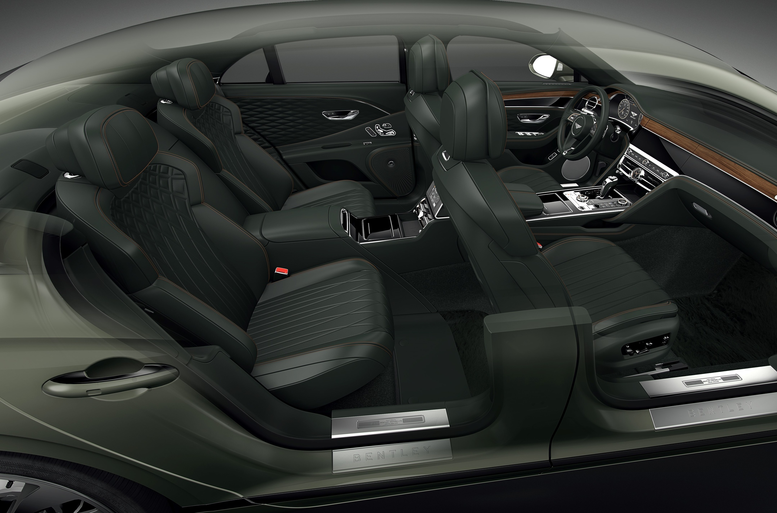 Bentley has spruced up its Flying Spur lineup with quite a few new options, including two separate back seats instead of a sofa, semi-aniline cross-stitched leather trim, and more paints to choose from.