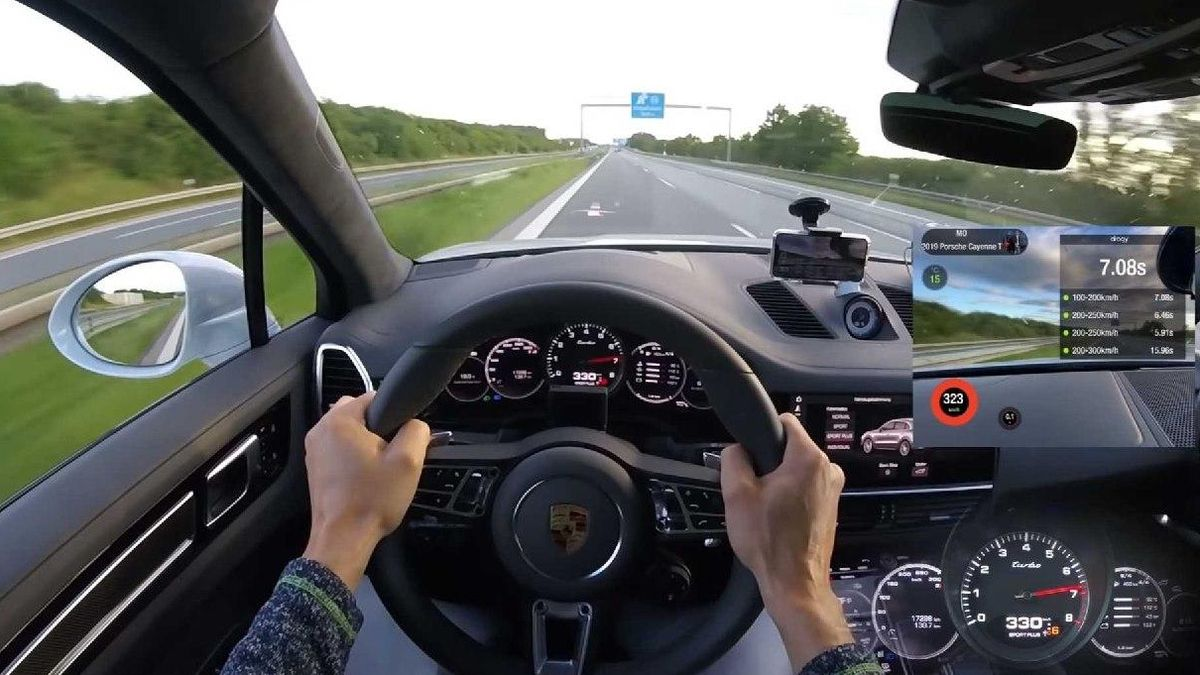 Check out this tuned Porsche Cayenne Turbo hitting a German autobahn with 333 kilometers per hour (207 mph).