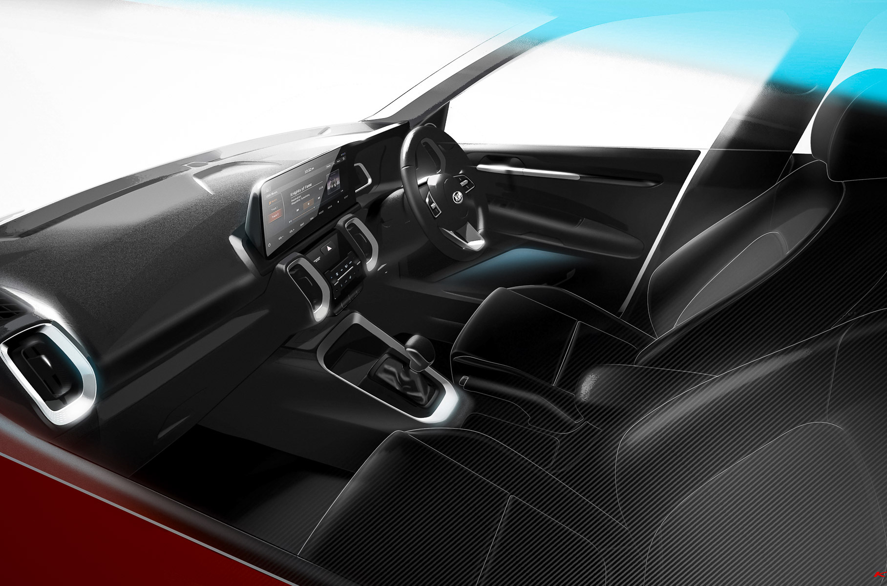 Mere weeks after unveiling its Sonet Concept in India, Kia will be introducing the final production version of the SUV on Friday, August 7, 2020. In the meantime, we can look at two new interior sketches.