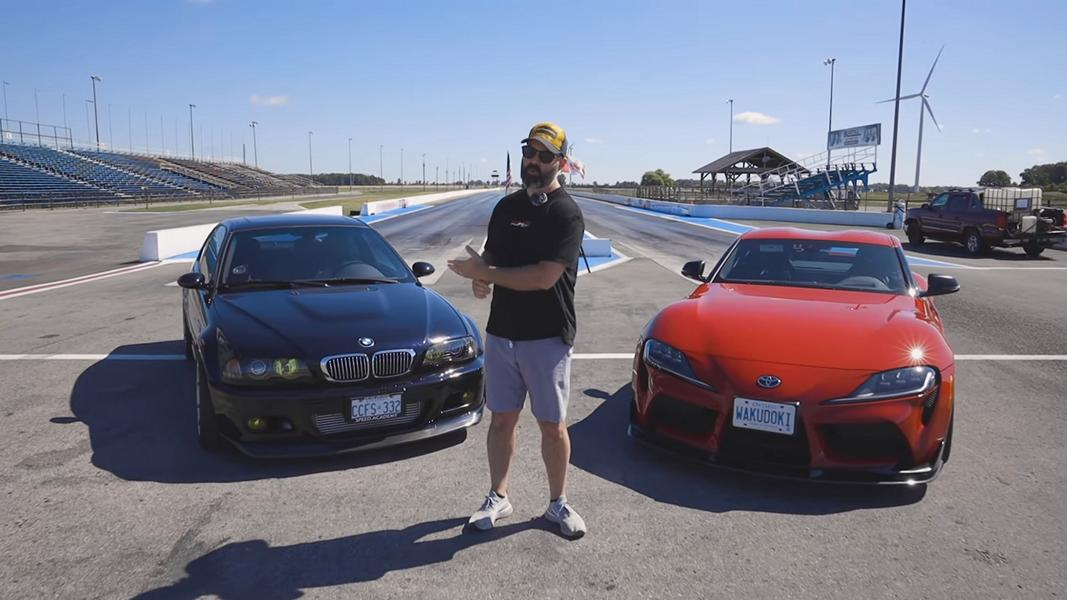 It's common knowledge that people modding cars tend to have excellent taste in humor, but this drag race between an E46 BMW M3 and an A90 Toyota Supra really sets a new bar for irony. Don't miss this video!