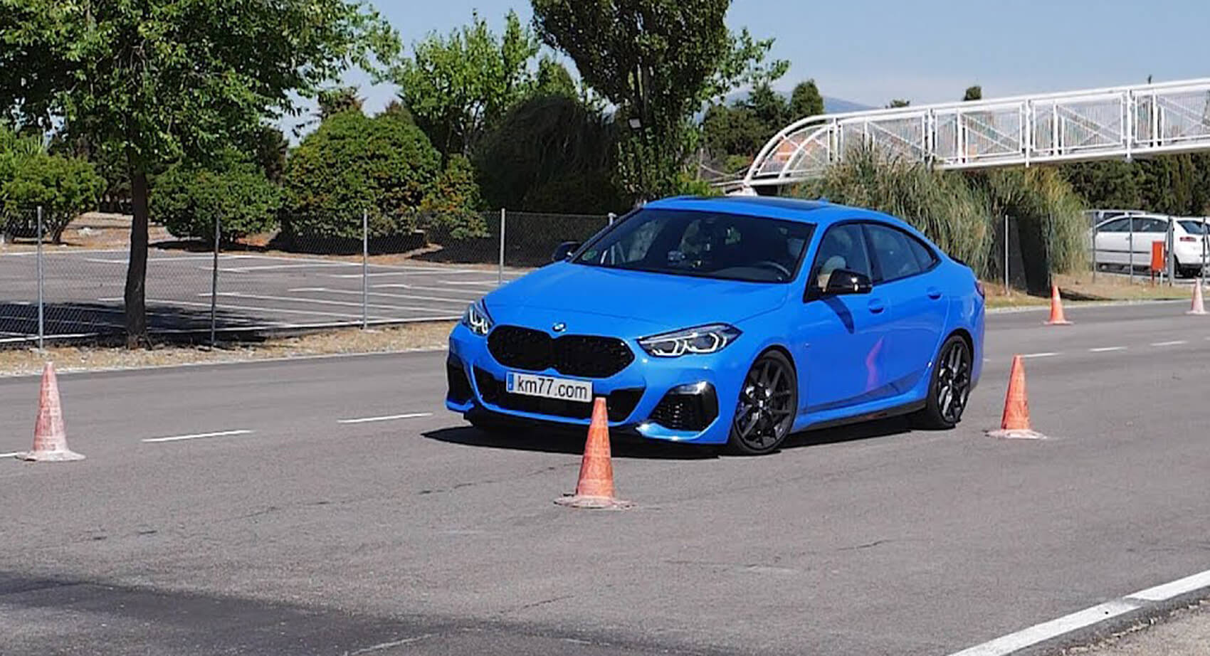 """A team of Spanish reporters has set up a so-called """"moose test"""" for the BMW M235i (F44) performance sedan. The goal was to determine how well the car would manage to stay in control after an abrupt speed maneuver. It did not."""