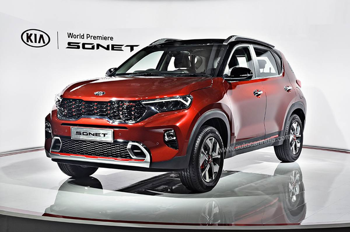 The subcompact-sized crossover SUV Kia Sonet has become available in India today as the South Korean brand's cheapest and smallest utility vehicle in its entire range.