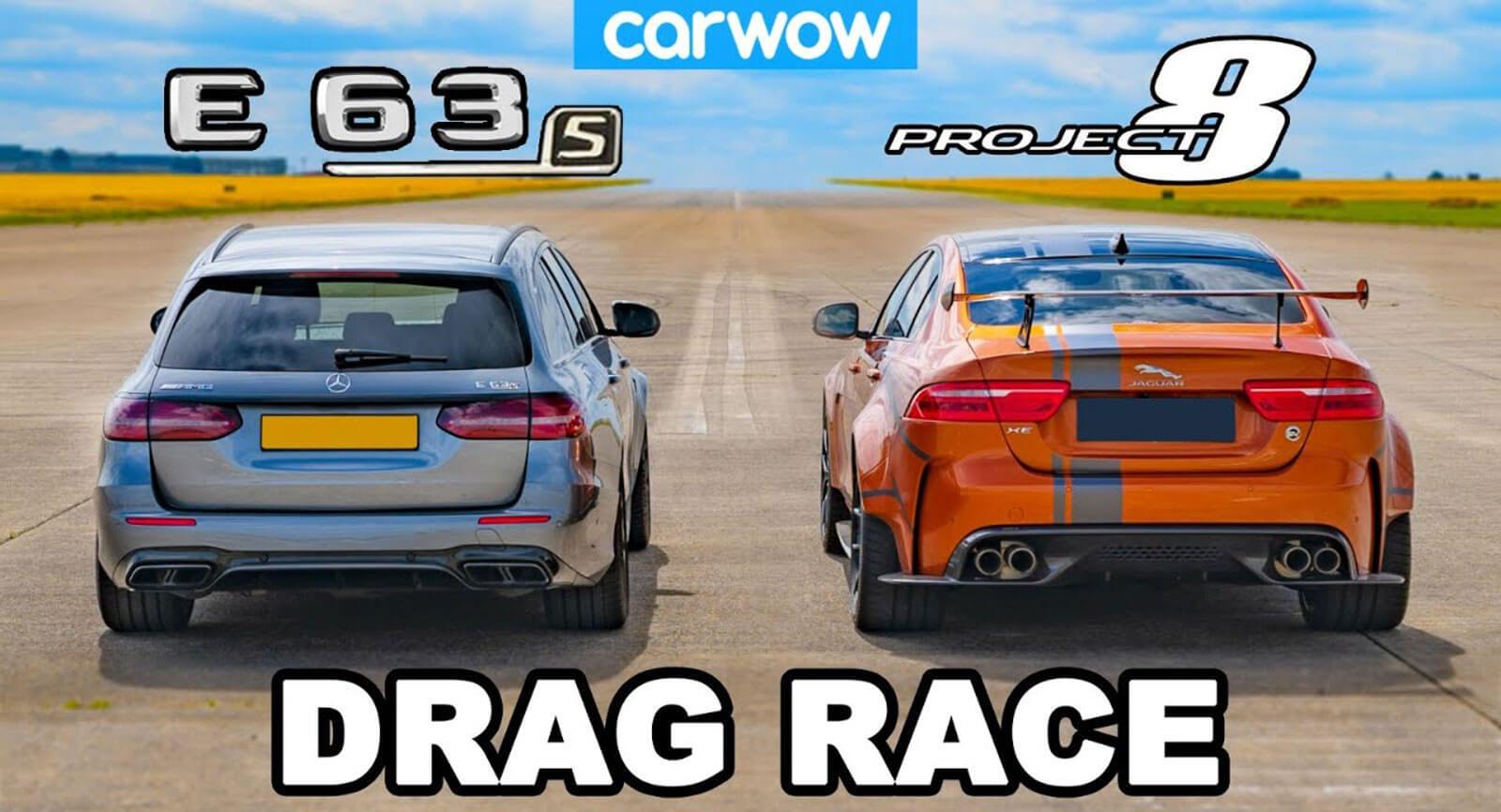 Авторы carwow устроили соревнование между самым производительным товарным «Ягуаром» и топовым «сараем» Mercedes-AMG E 63 S Estate.
