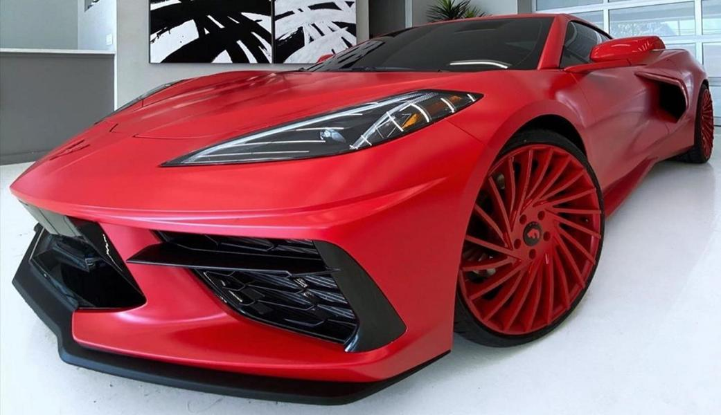Have a look at the photos showing the mid-engined new 'Vette flaunting huge red Forgiato rims. Judging by the many negative comments, the owner of the car made a poorly informed choice here.