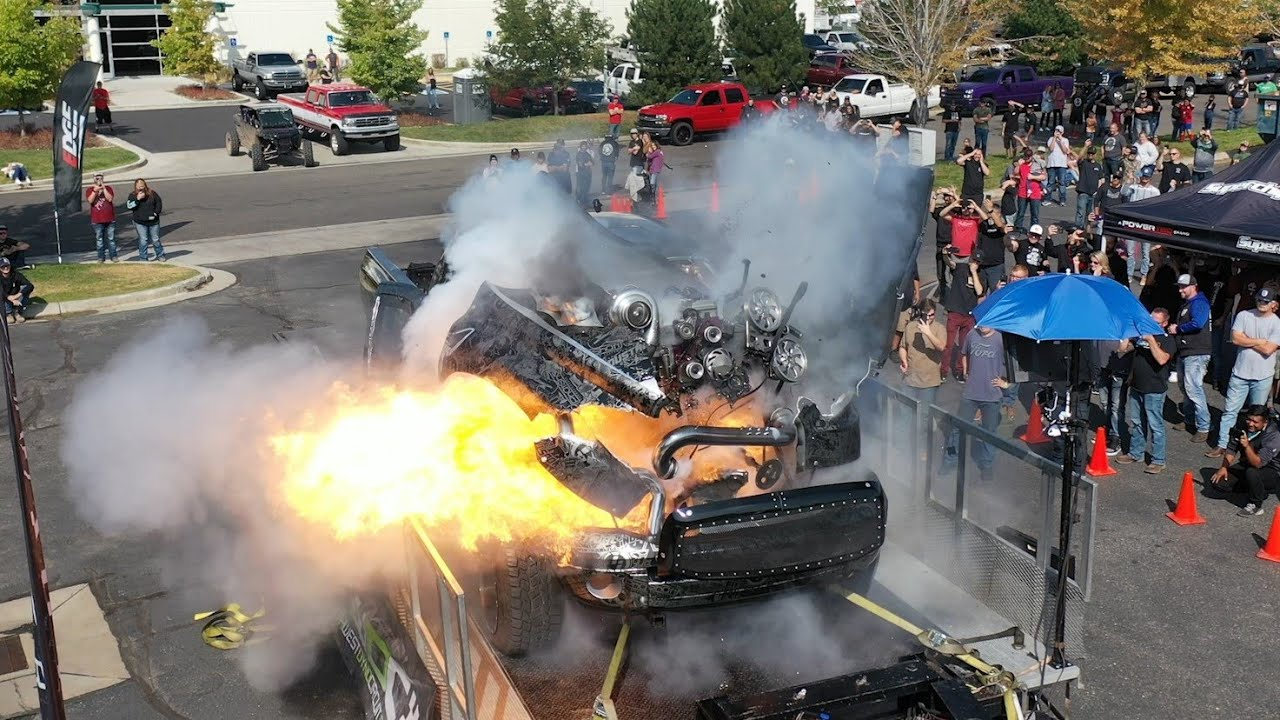 """What happens when you stress-test a Cummins diesel tuned to deliver around three thousand horsepower? """"Fireworks"""" certainly is one of the possible outcomes, and this is what happened to this Dodge Ram truck with two people still inside."""