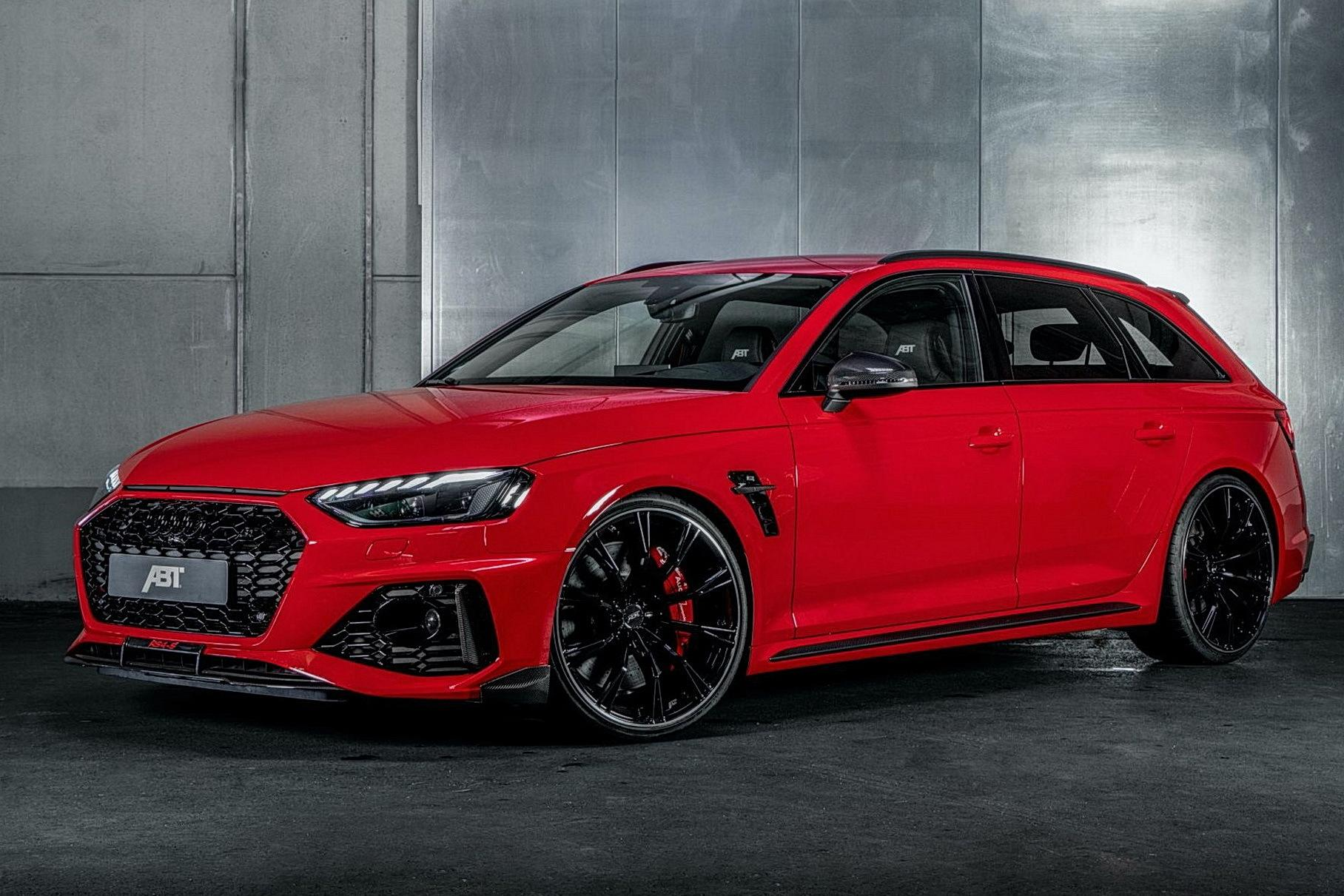 "German tune-up company ABT Sportsline has outfitted the Audi RS4 with a performance boost, chassis reinforcements and carbon-fiber décor, naming the result ""RS4-S""."