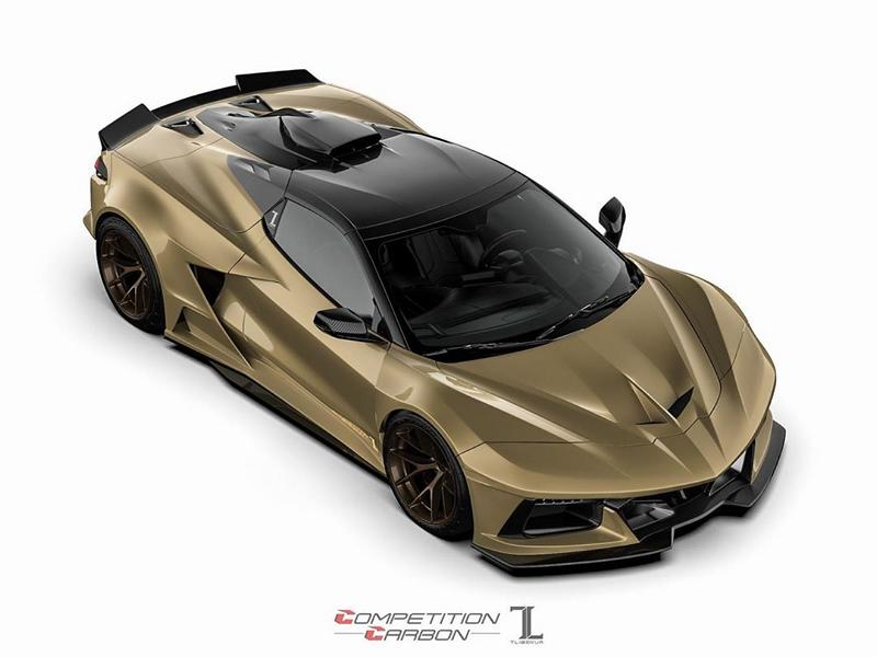 Tuning company Competition Carbon has posted some early 3D renderings of an upcoming aerodynamic kit for the mid-engined Chevrolet Corvette C8. The package consists of dozens of items that make the coupe look not unlike an exotic supercar.