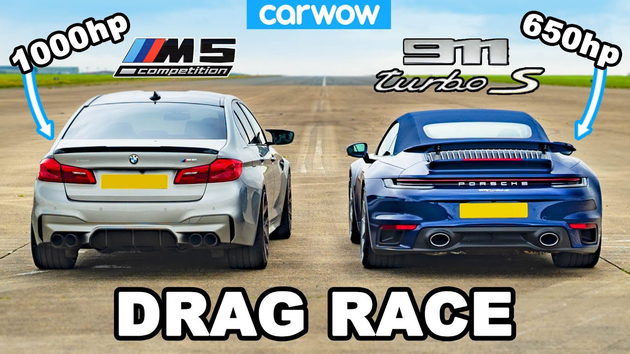 The CarWOW team has arranged yet another adrenaline-pumping race, this time around throwing a brand-new Porsche 911 (992) Turbo S against a heavily tuned BMW F90 M5. The Bavarian saloon boasts 1,000 hp (745 kW) of power, but is it a match for the much lighter Porsche?