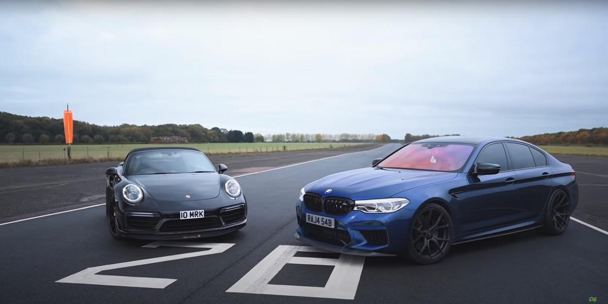 This video pits up two unlikely opponents: an F90 BMW M5 Competition and a Porsche 991.2 Turbo S Convertible, both packing Stage 2 power upgrades.