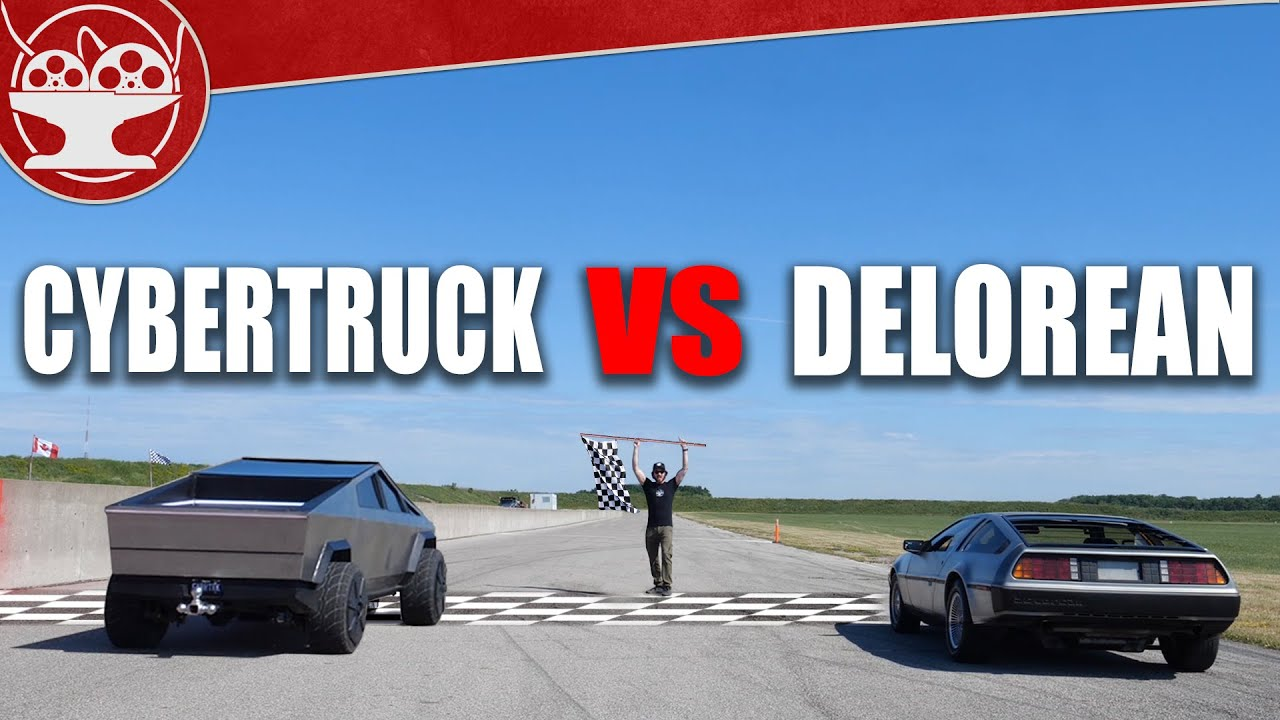 If you thought you had seen everything, wait until you see the iconic DeLorean DMC-12 doing its darnedest to outrun a baby Cybertruck.