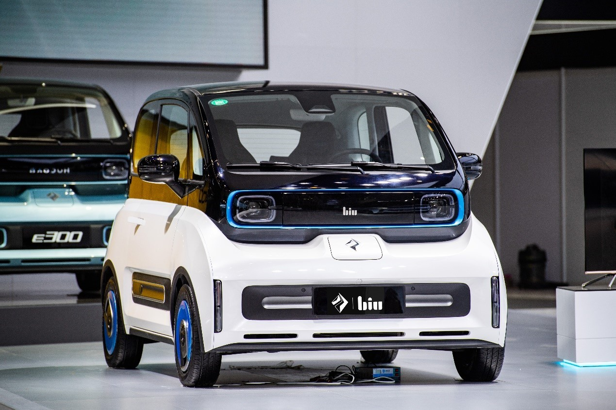"""Baojun has teamed up with Suning to turn its all-electric E300 Plus subcompact into an """"intelligent"""" Small Biu Smart Car. The urban ride is said to integrate easily into smart home and IoT solutions."""