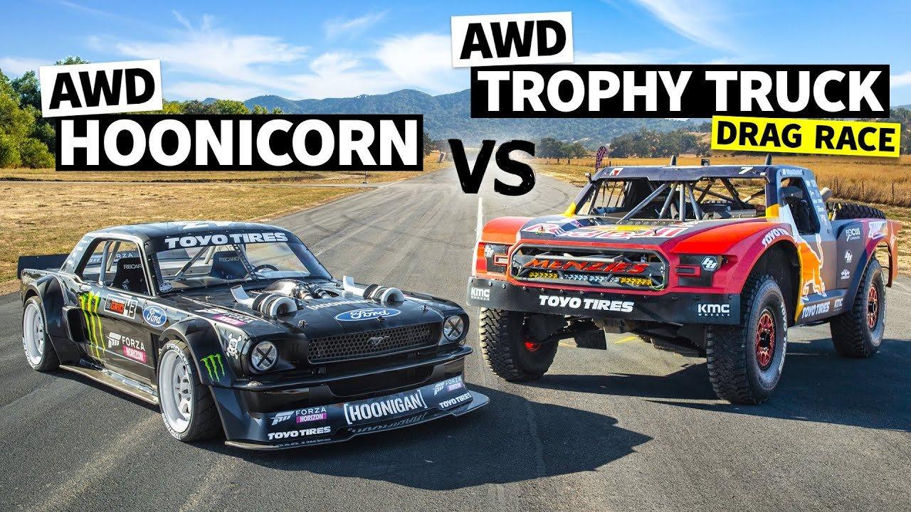 Кен Блок продолжает свой YouTube-сериал «Hoonicorn vs The World», в рамках которого его Mustang соревнуется в дрэге с другими машинами. В первом эпизоде соперником стал McLaren Senna, а во втором – 950-сильный багги на основе Ford F-150 Raptor.