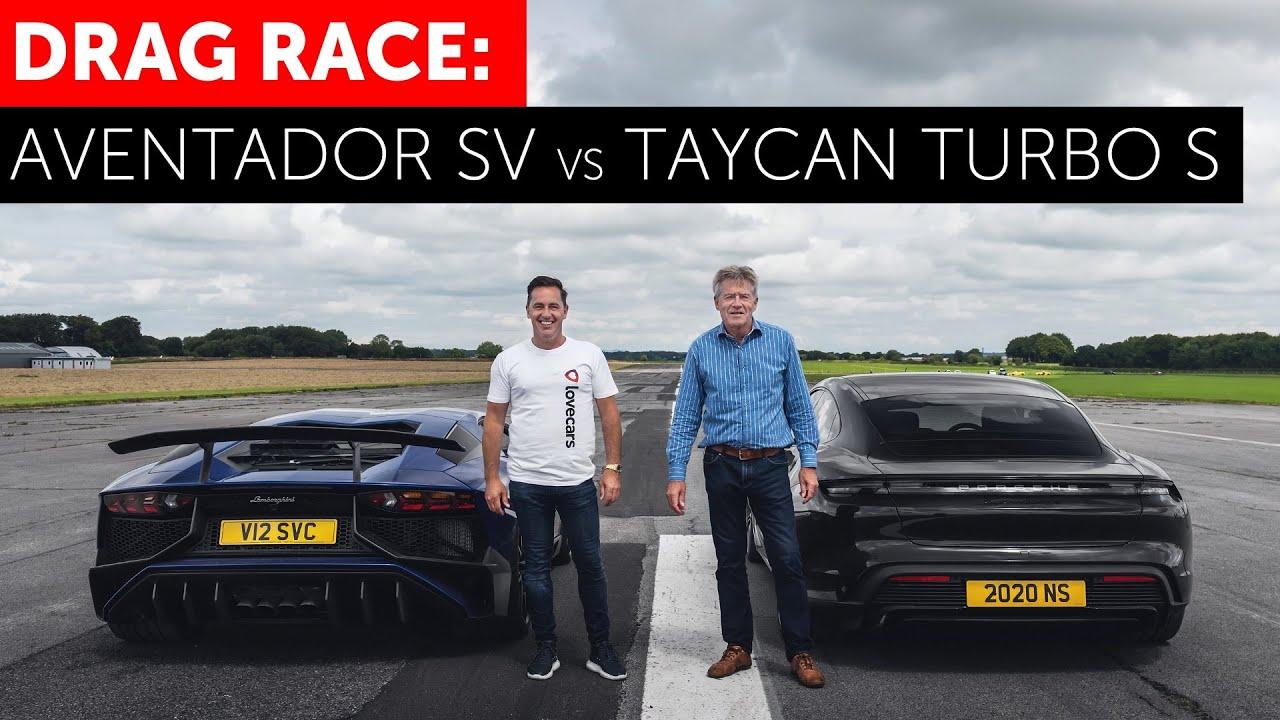 На дрэг вышли два очень разных «полноприводника» – Porsche Taycan Turbo S и Lamborghini Aventador SVJ.