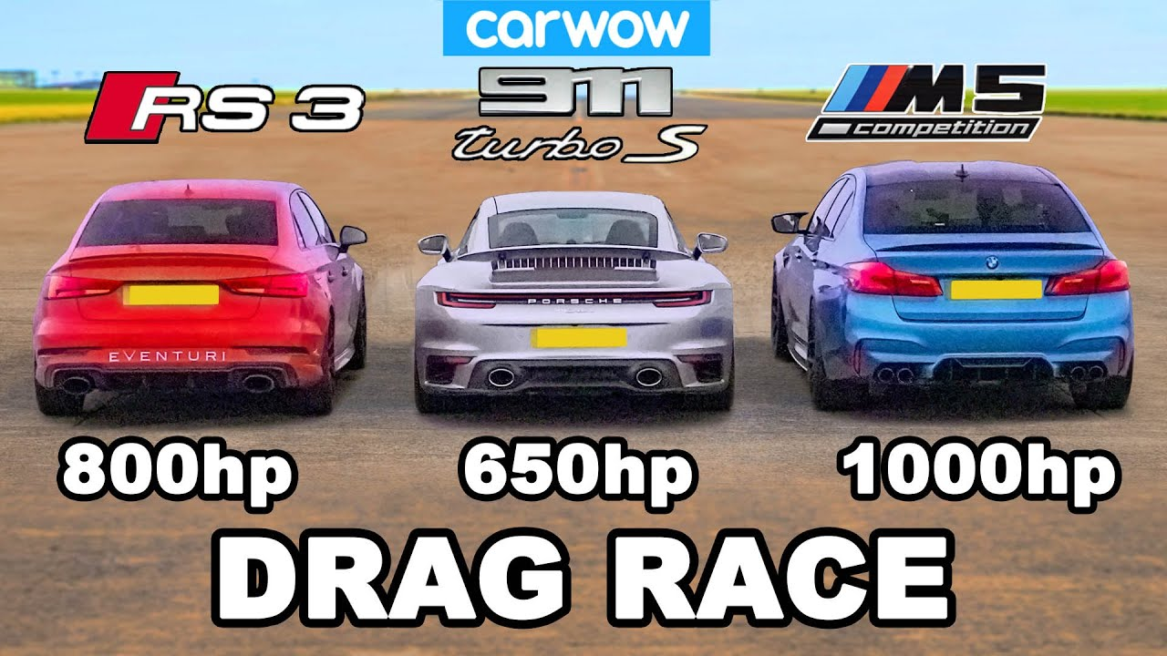 CarWOW has invited an owner of the newest Porsche 911 (992) Turbo S to a drag race against two seriously modded sedans: an Audi RS3 and a BMW M5.