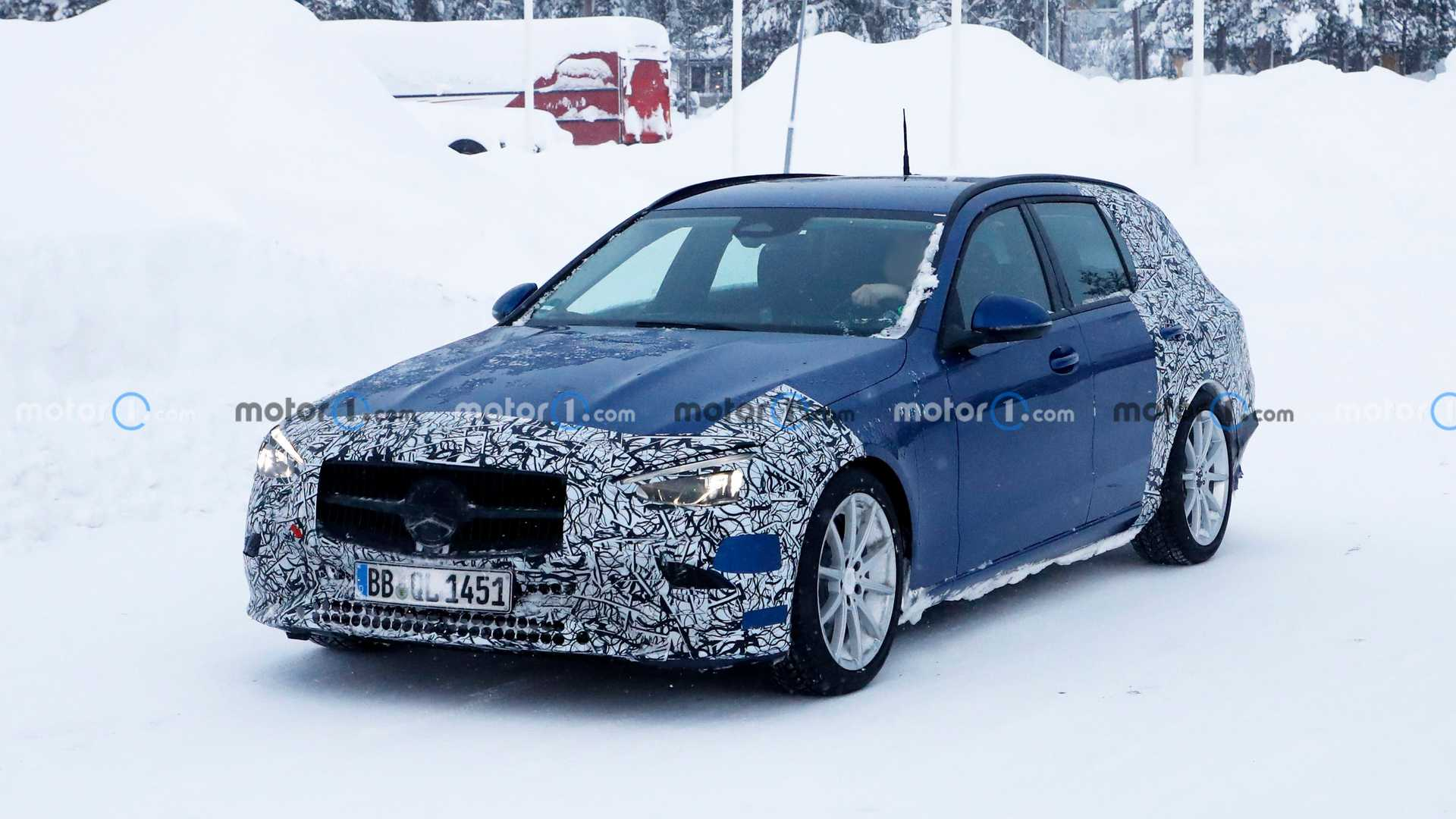 As the international premiere of the new Mercedes C-Class draws near, the automaker has begun undressing its test vehicles to show more naked body. These two wagons are a good example of what to expect.