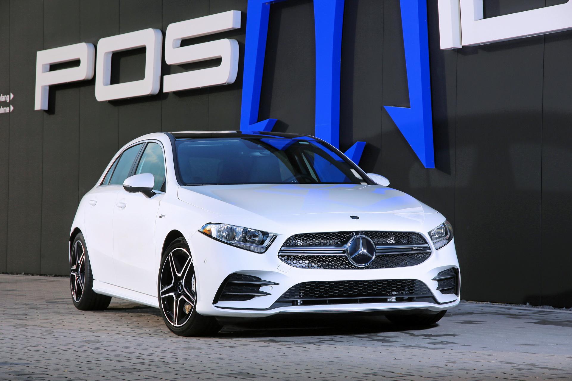 В прошлом году тюнеры из Posaidon уже выжали из Mercedes-AMG A45 S рекордные 525 л.с. и 600 Нм тяги (см. видео), а в этом подтянули показатели «тридцать пятой» модели до уровня серийного A45.