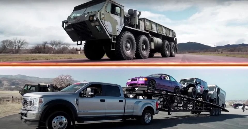 We are all used to seeing an endless stream of supercars, stock cars and drag strip kings racing each other in a straight line. If you'd rather watch something different, look no further than this race between an Oshkosh HEMTT army eight-wheeler and a Ford F-450 trailer towing three other cars.