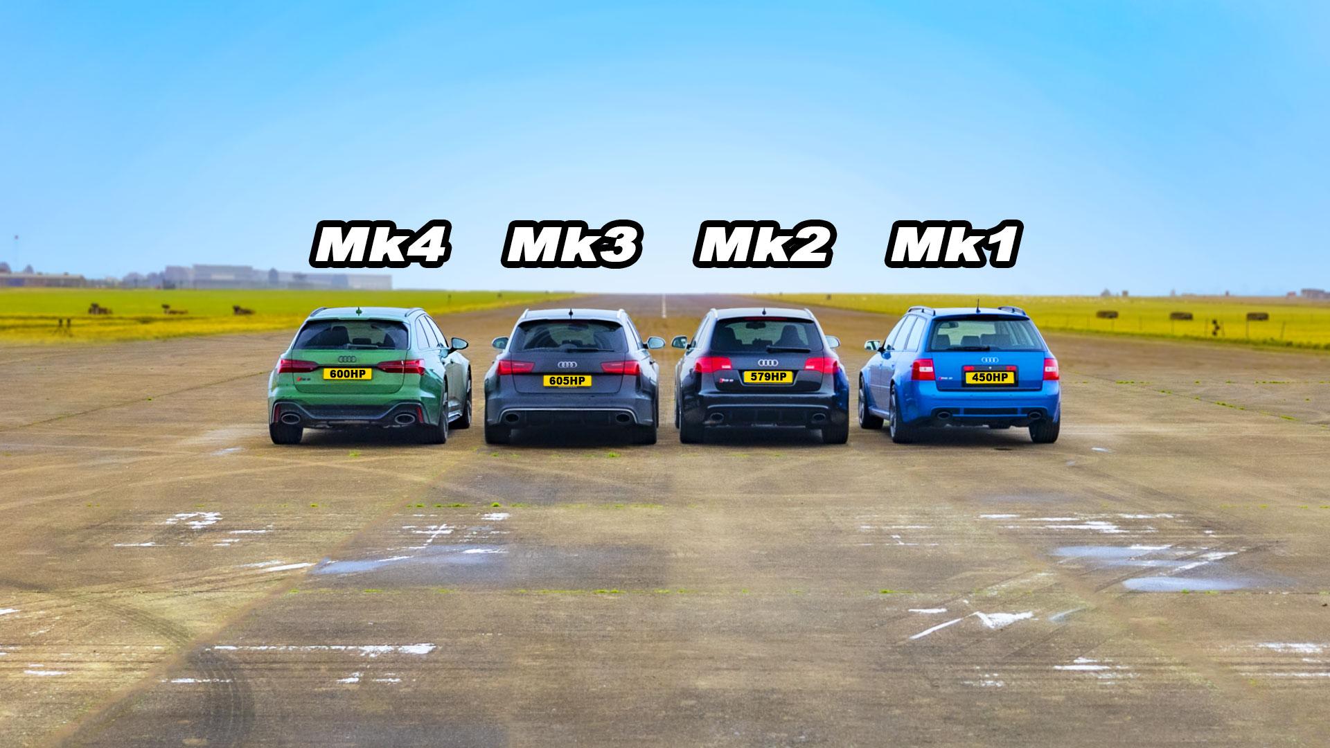 Видеоблогеры с канала carwow провели соревнование между четырьмя Audi RS 6 разных генераций. У всех машин двойной наддув и полный привод, но самый пожилой и самый «свежий» универсалы разделены почти двумя десятилетиями. Интересно, что новейшая модель лидировала не во всех дисциплинах.